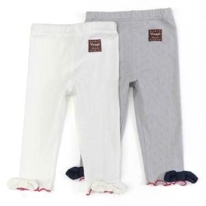 コーディネートを選ばないベーシックカラーのスパッツです☆裾のメローデザインがキュートなアクセントポイ...