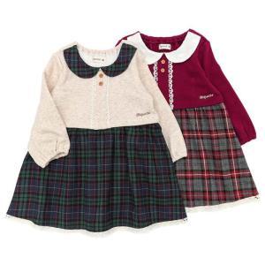 チェック柄の衿付きワンピース♪少しレトロな雰囲気で秋らしさ満点のデザインです☆配色の衿が引き立ってち...
