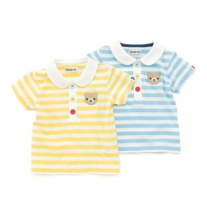 爽やかカラーのボーダーが夏らしくてかわいいポロシャツ風Tシャツ♪綿100%なのも嬉しいね!丸衿やカラ...