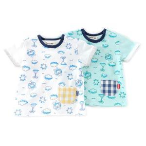 かわいい手書きプリントTシャツ!!ぷかぷか浮いてるくーたんを見つけてね♪袖のロールアップがポイント。...