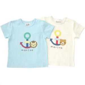 イカリのパッチワークがかわいい半袖Tシャツ♪夏にちょうど良い薄手の柔らか素材です☆シンプルなデザイン...