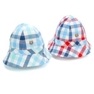 お洋服と同チェックの夏らしいハットタイプの帽子♪サイドにはくーたんとの刺しゅうもあしらわれているよ☆...