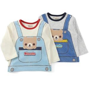 やわらか接結の長袖Tシャツ☆オーバーオール風プリントデザインがポイント☆着ると人気ものになれそう! ...