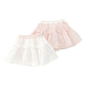 ギャザーたっぷりでふんわりキュートなシルエットのブルマ付きスカート♪夏らしいラブリーでさわやかな素材...