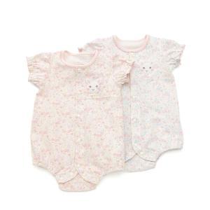 小花柄がラブリーな半袖ボディシャツ♪夏におすすめなさらっとした天竺素材で、肌触りも柔らかく赤ちゃんに...