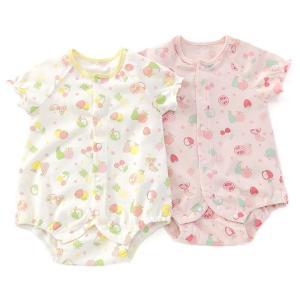 可愛らしいフルーツ柄が夏のベビーにぴったりなボディシャツ♪(>▽<)肌触りの優しい天竺素材で快適な着...
