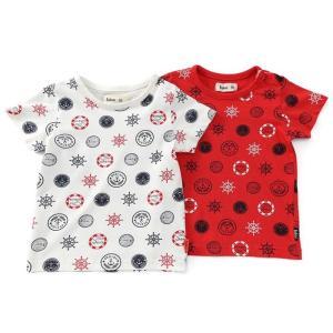 イカリマークがモチーフのマリンドット総柄Tシャツです☆レッドとオフホワイトどちらも夏にピッタリな仕上...