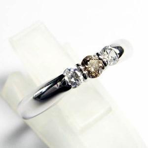 誕生石 3ストーン シルバー リング 4月 ブラウンダイヤモンド 指輪|baby-sies