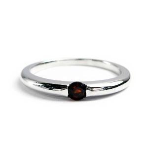 誕生石 一粒カラーストーン シルバー リング 1月 ガーネット 指輪|baby-sies