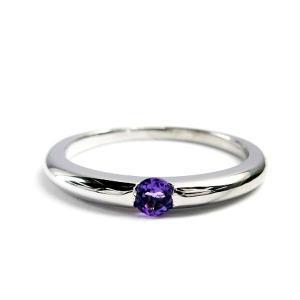 誕生石 一粒カラーストーン シルバー リング 2月 アメジスト 指輪|baby-sies