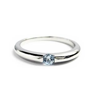 誕生石 一粒カラーストーン シルバー リング 3月 アクアマリン 指輪|baby-sies