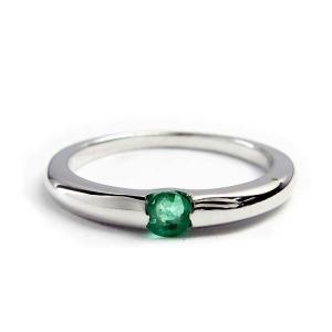 誕生石 一粒カラーストーン シルバー リング 5月 エメラルド 指輪|baby-sies