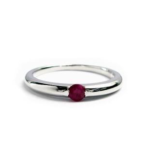 誕生石 一粒カラーストーン シルバー リング 7月 ルビー 指輪|baby-sies