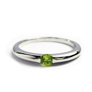 誕生石 一粒カラーストーン シルバー リング 8月 ペリドット 指輪|baby-sies