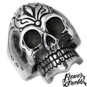Flower Pueblo フラワープエブロ Trip Skull シルバー リング K18 指輪|baby-sies