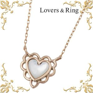 Lovers & Ring ラバーズリング K10 ピンクゴールド ネックレス 白蝶貝 ハート|baby-sies