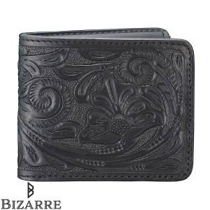 0fff776d2247 Bizarre ビザール カービング レザー 二つ折り ショート ウォレット ブラック 財布 メンズ レディース