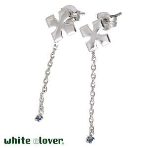 50%OFF white clover ホワイトクローバー K14 ホワイトゴールド クロス ピアス ブルーダイヤモンド ペア|baby-sies