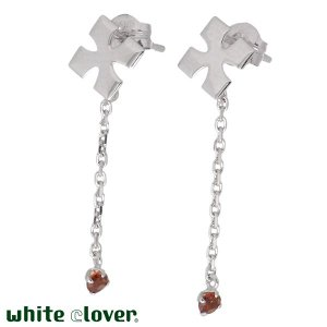 50%OFF white clover ホワイトクローバー K14 ホワイトゴールド クロス ピアス ガーネット ペア|baby-sies