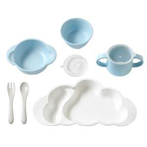 10mois(ディモア) mamamanma grande(マママンマ グランデ)セット ブルー|お食事セット ベビー食器 離乳食 雲の形 出産祝い 耐熱 フィセル 日本製|baby-smile|03