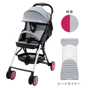 【combiコンビ正規販売店】F2plus AJ(パッションピンク)片手でカンタン操作!フルリクライニングバギー|baby21proshop