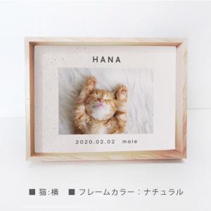 【メール便送料無料】NEW!命名書 ( ネコ 用 / 命名キャンバス ) ペット オーダー おすすめ 誕生日 ねこ  誕生日  写真立て 額付 命名 cat|babychips2