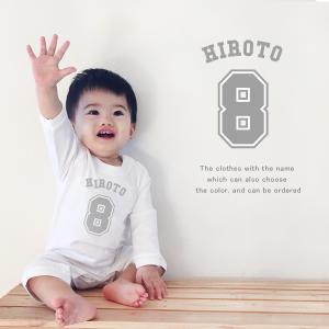 【メール便送料無料】名入れ 長袖 ロンパース(ベースボールナンバー)出産祝い ベビー キッズ|babychips2