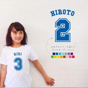 【メール便送料無料】野球Tシャツ(ベースボールナンバー)名入れ 半袖 出産祝い ベビー キッズ おそろい リンク|babychips2