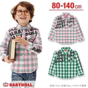 50%OFF SALE ベビードール BABYDOLL 子供服 ギンガムロゴシャツ ベビーサイズ キッズ-0256K babydoll-y