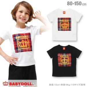 50%OFF SALE ベビードール BABYDOLL 子供服 親子ペア チェック貼付Tシャツ 春 夏 男の子 女の子 ベビーサイズ キッズ ジュニア-0568K|babydoll-y