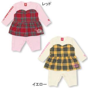 50%OFF SALE ベビードール BABYDOLL 子供服 チェック 切替 ロンパース 0951B ベビーサイズ 赤ちゃん 女の子|babydoll-y