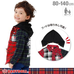 50%OFF SALE ベビードール BABYDOLL 子供服 親子お揃い フード付き チェックシャツ 1332K ベビーサイズ キッズ 男の子 女の子|babydoll-y