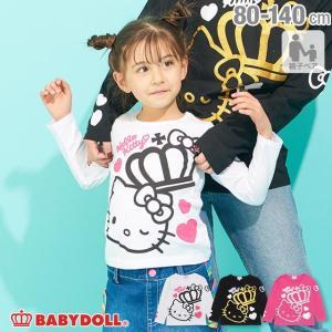 50%OFF SALE ベビードール BABYDOLL 子供服 親子お揃い サンリオ 王冠 ロゴ キャラクター ロンT 1970K ベビーサイズ キッズ 女の子|babydoll-y