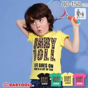 50%OFF SALE ベビードール BABYDOLL 子供服 親子お揃い ヒョウ柄 貼付 Tシャツ 2028K キッズ 男の子 女の子|babydoll-y