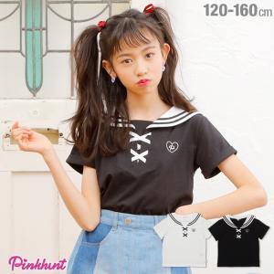 30%OFF SALE ベビードール BABYDOLL 子供服 PINKHUNT PH セーラー Tシャツ 2161K キッズ ジュニア 女の子|babydoll-y