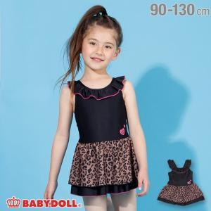 30%OFF SALE ベビードール BABYDOLL 子供服 水着 ヒョウ柄 切替 ワンピース 2211K キッズ 女の子|babydoll-y