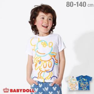30%OFF SALE ベビードール BABYDOLL 子供服 ディズニー キャラクター ネオン Tシャツ 2486K キッズ 男の子 女の子 DISNEY|babydoll-y