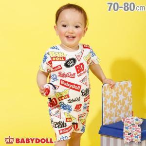 ベビードール BABYDOLL 子供服 ロゴ 総柄 ロンパース 2573B ベビーサイズ  男の子 女の子 babydoll-y