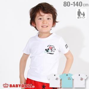 30%OFF SALE ベビードール BABYDOLL 子供服 親子お揃い ディズニー チェッカー Tシャツ 2580K キッズ 男の子 女の子 DISNEY|babydoll-y