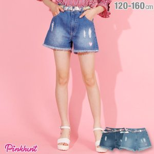 ベビードール BABYDOLL 子供服 PINKHUNT PH ベルト付き ダメージ デニム ショートパンツ 2792K キッズ ジュニア 女の子|babydoll-y