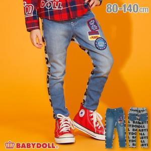 ベビードール BABYDOLL 子供服 デニム切替 ロングパンツ 2923K ベビーサイズ キッズ 男の子 女の子|babydoll-y