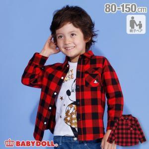 ベビードール BABYDOLL 子供服 親子お揃い ディズニー チェック シャツ 3433K キッズ 男の子 女の子 DISNEY|babydoll-y