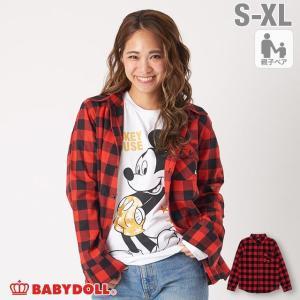 ベビードール BABYDOLL 子供服 親子お揃い ディズニー チェック シャツ 3433A 大人 レディース メンズ DISNEY|babydoll-y