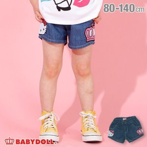 30%OFF SALE ベビードール BABYDOLL 子供服 サンリオ ショートパンツ デニム サイド キャラクター 3893K キッズ 女の子 babydoll-y