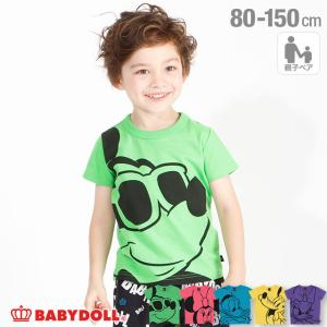 ベビードール BABYDOLL 子供服 ディズニー Tシャツ 親子お揃い BIGキャラクター ネオン 3918K キッズ 男の子 女の子 DISNEY|babydoll-y