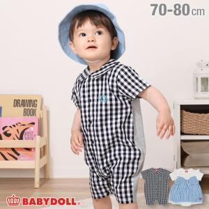 ベビードール BABYDOLL 子供服 ロンパース チェック切替 4218B ベビーサイズ 男の子 女の子|babydoll-y