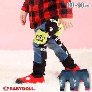 ベビードール BABYDOLL 子供服 ディズニー モンキーパンツ デニム 切替 4440B ベビーサイズ 男の子 女の子 DISNEY|babydoll-y