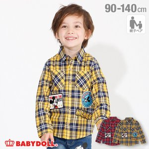 50%OFF SALE ベビードール BABYDOLL 子供服 ディズニー チェックシャツ ワッペン 親子お揃い 4585K キッズ 男の子 女の子 DISNEY|babydoll-y