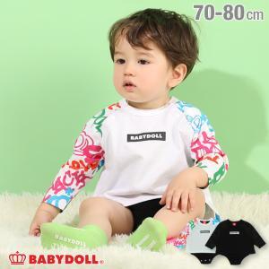50%OFF SALE ベビードール BABYDOLL 子供服 ボディスーツ 袖 グラフィティ柄 4864B ベビーサイズ 男の子 女の子|babydoll-y