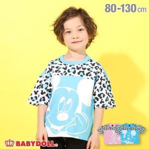 ベビードール BABYDOLL 子供服 ディズニー Tシャツ アイコン ヒョウ柄 切替 5017K キッズ 男の子 女の子 DISNEY|babydoll-y